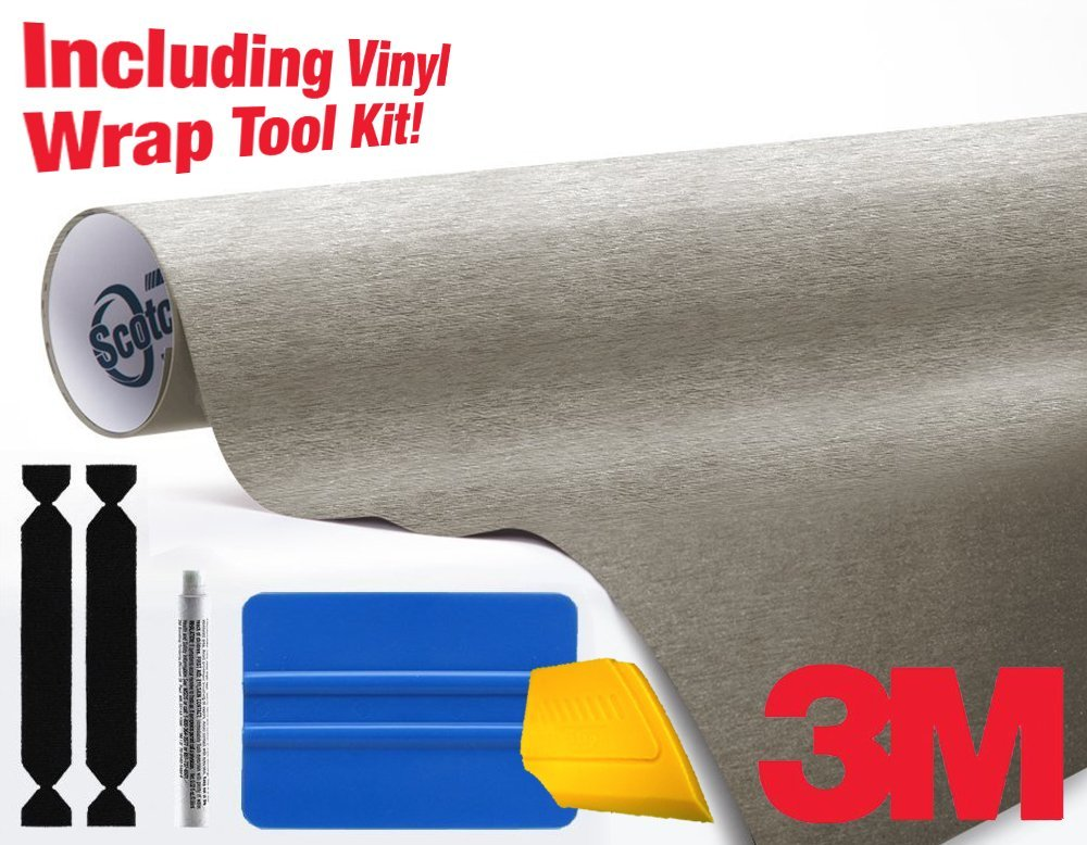 3M 1080 Brushed Titanium Air-Release Vinyl Wrap Roll Including Toolkit (1ft x 5ft)