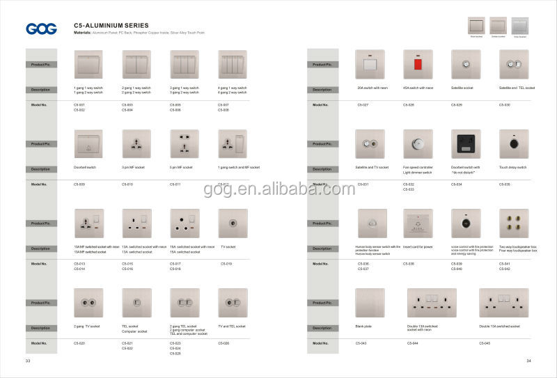UK Type Rose Gold Color Aluminum Multi Electrical Socket Switch Different Types Of Switches
