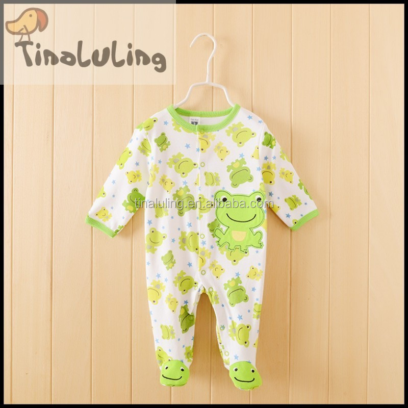 new arrival frog animal fleece winter footed sleeper pajamas kids pajamas