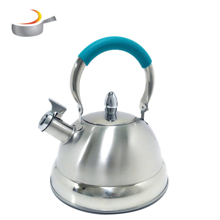 Popular 3.0L silicone handle colorful S/S whistling non-electric tea kettle teapot with Zinc alloy  knob for stovetops
