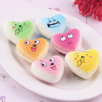 Simulation Slow Rebound Macarons Mobile Phone Accessories Heart Shaped Pendant Squishy Toys