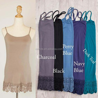 CAMI EXTENDER SLIP TWO TIERED Basics Cami Extender Slips Bottom lace Chiffon Contrast Tiered double ruffle extender cami