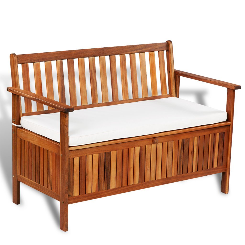 Festnight Outdoor Patio Garden Storage Bench Deck Box with Cushion, Acacia Wood