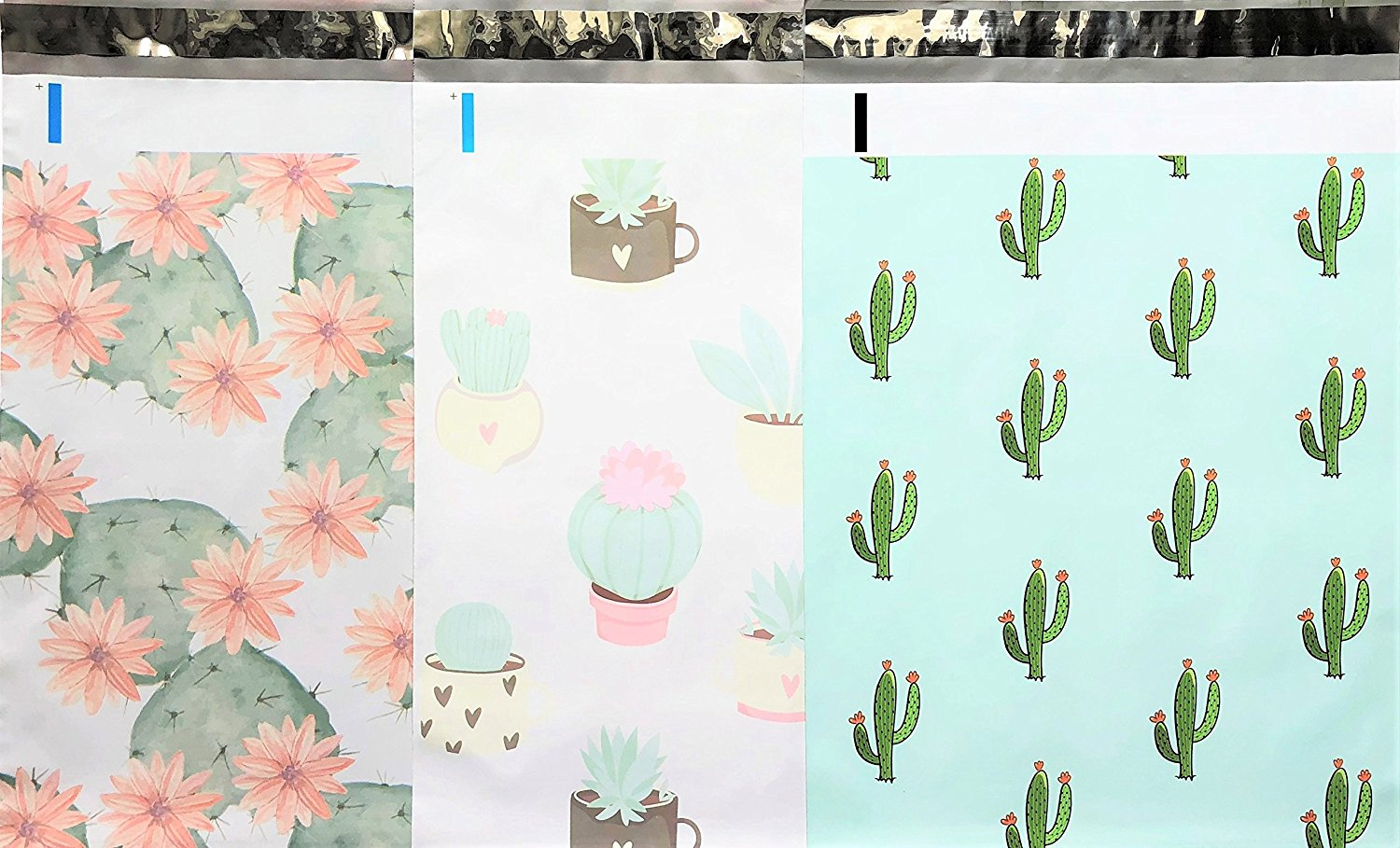 UpakNShip Sold By SackofWonders Designer Poly Mailers 10x13 : Cactus Mix ~ Flowering Cactus, Succulent, Mint Cactus; Printed Self Sealing Shipping Poly Envelopes Bag (30 Pcs Cactus Mix)