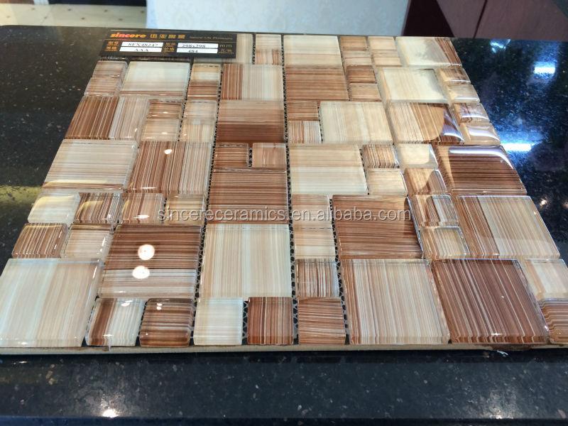 Nuovo arrivo decorazione di legno mattonelle di mosaico per doccia ...