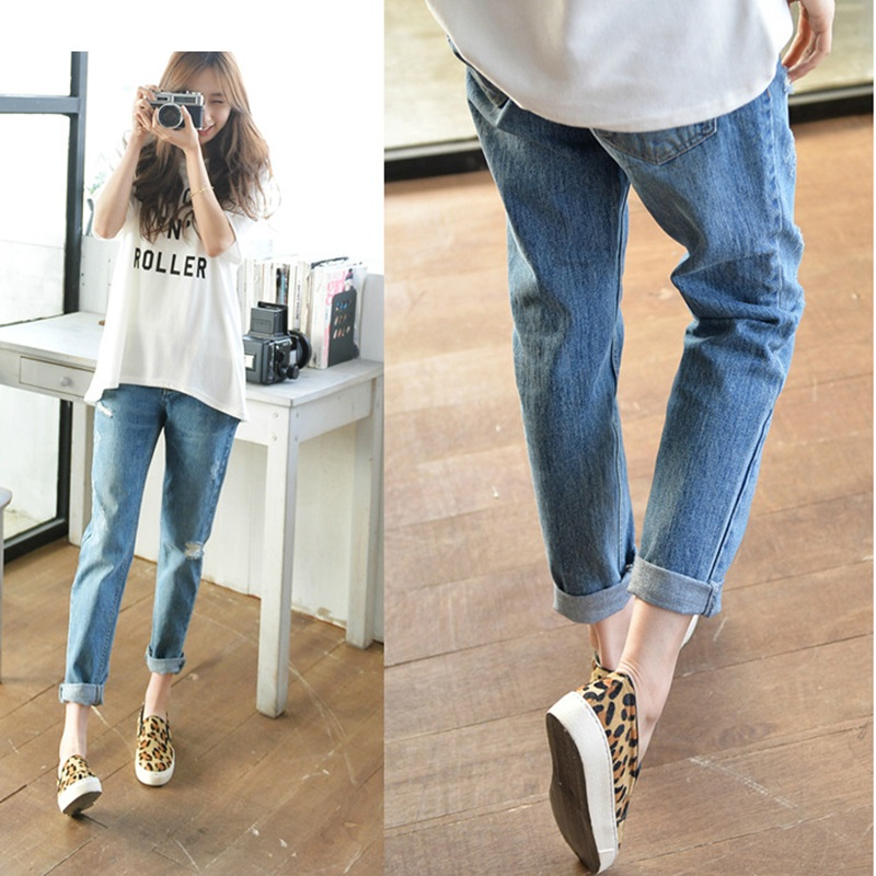 Fashion Ripped Jeans Women Plus Size options Girls Pant Roller Capris Cotton Ankle Length