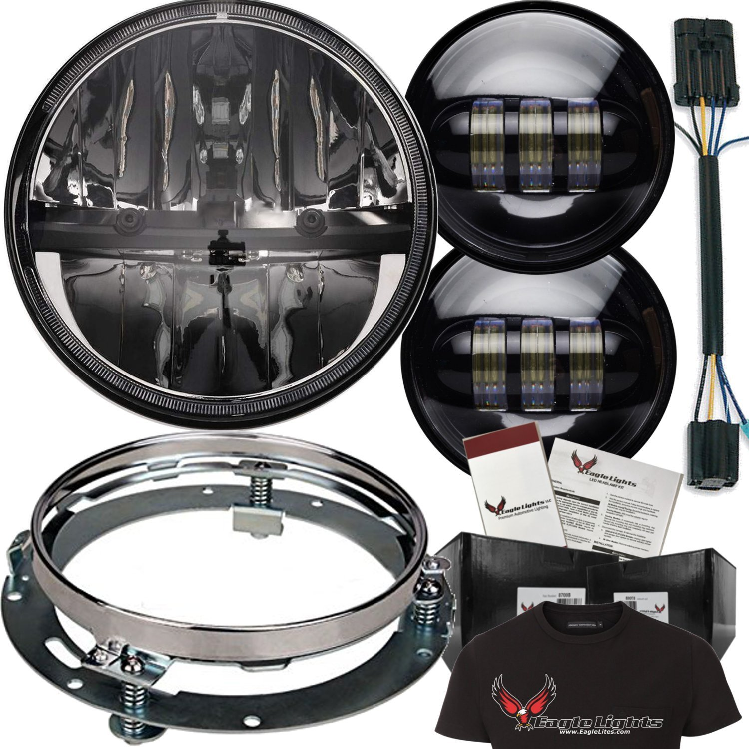 """Eagle Lights 7"""" Complex Reflector LED Headlight with LED Passing Lights, Adapter Ring & Adapter Plug"""