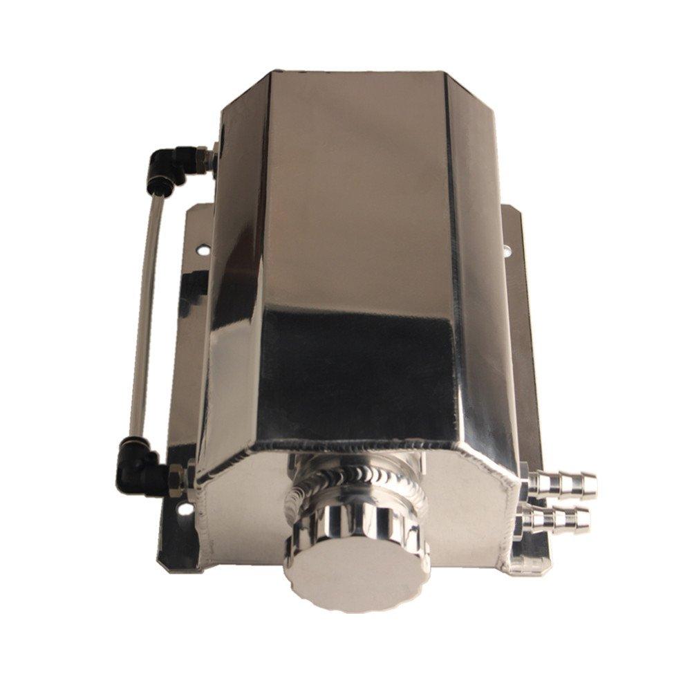 Dewhel JDM Universal 2L Coolant Radiator Overflow Recovery Water Tank Reservoir Bottle Polished Aluminum Chrome Polish