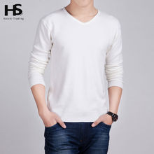 Solid Color Pullover Men Wool And Cashmere Sweater Men 2015 Famous Brand Mens V Neck Sweaters Fashion Pull Homme Slim Fit Shirt