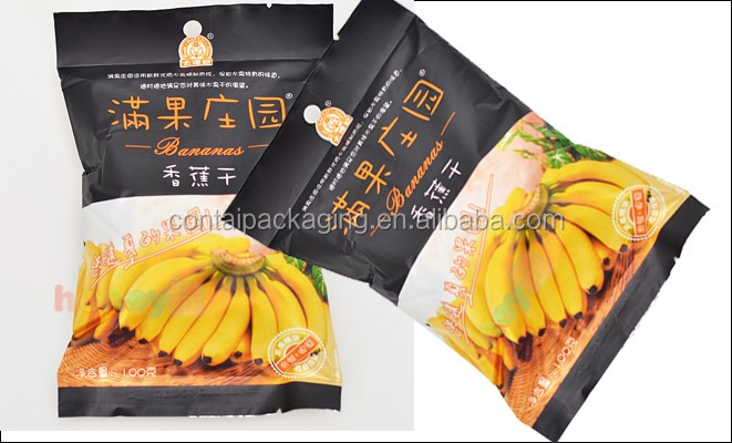 Custom printing food grade snack packaging laminated plastic banana / potato chips packaging bags with factory price