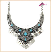 Personalized vintage silver turquoise collar chunky necklace for women jewelry necklace