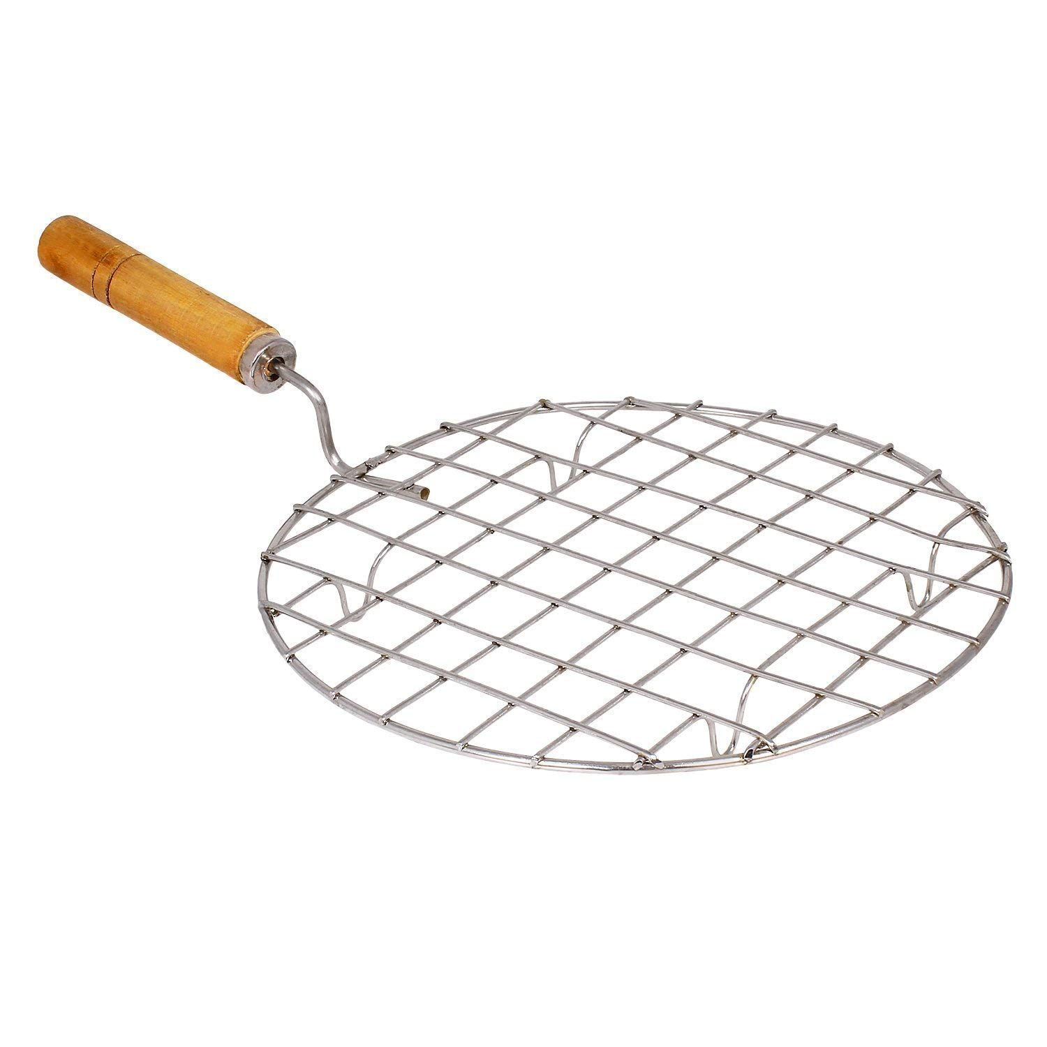Stainless Steel Round 17 Cm Jali Roaster Wooden Round Roasting Net,Stainless Steel Wire Roaster,Wooden Handle Round with Roasting Net,Papad Jali,Roti Jali,Roaster