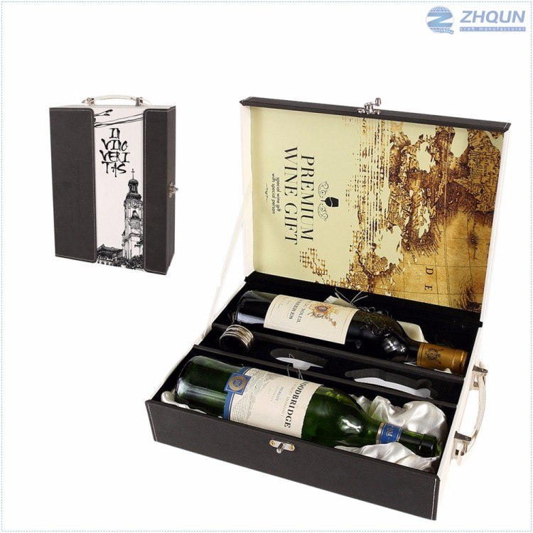 Main product attractive style leather trim empty pinewood wine box