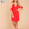 Yihao OEM New latest design dress women ladies v neck cold shoulder sexy red Harness dress