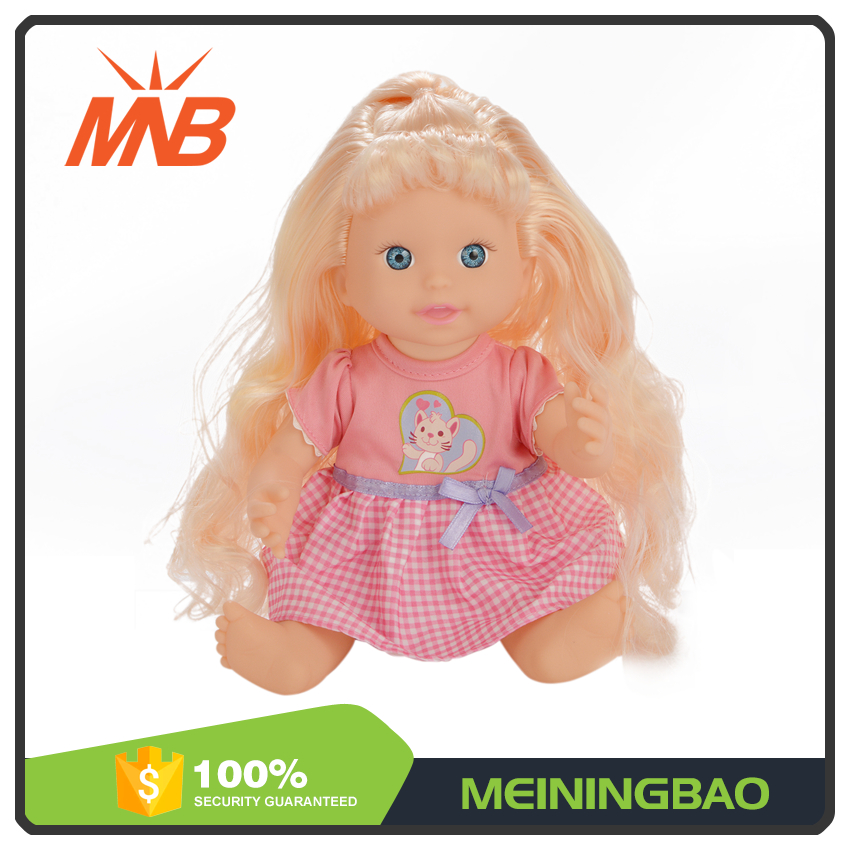 Girls beauty play toy long hair 13 inch beauiful plastic doll with microphone