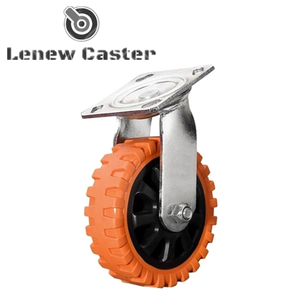 Orange pu double bearing swivel caster wheel