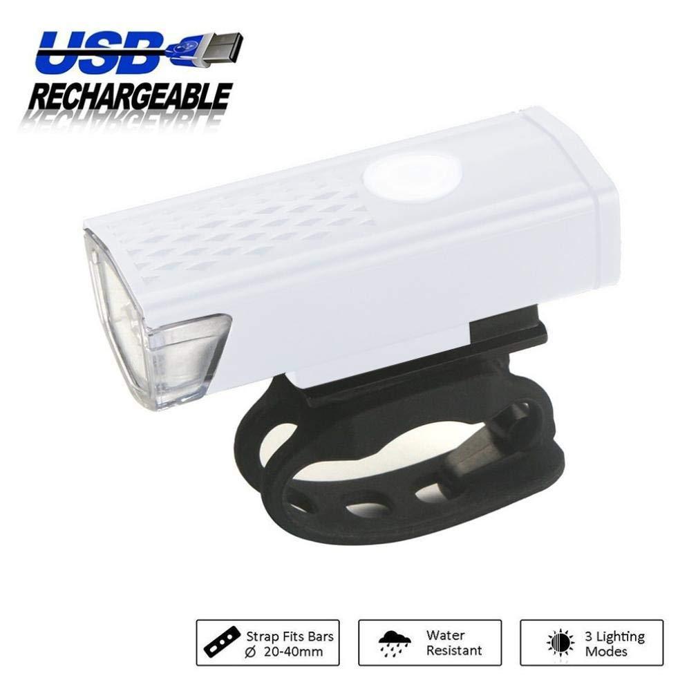 Glumes Bike Light USB Rechargeable|Ultra Bright Powerful Safety Front Light|350Lumens|T6 LED|Intelligent Sense|3 Light Mode Options|IPX5 Waterproof|for all Bikes/Helmets (White)