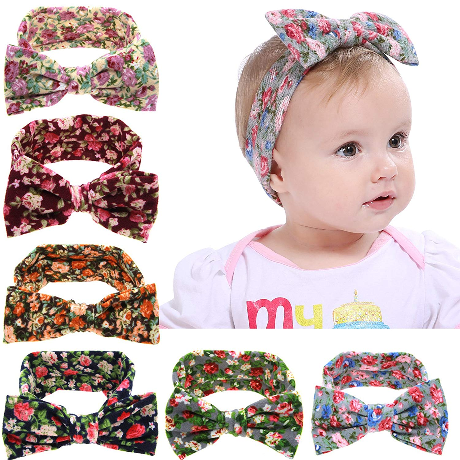 2e7f606adb9 Get Quotations · Baby Girl Newest Round Dot Turban Headband Head Wrap  Knotted Hair Band 6pcs