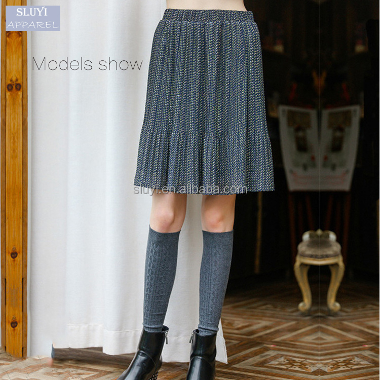 indian wholesale printing chiffon skirt pleated Elastic waist all-matched ruffle middle long skirts