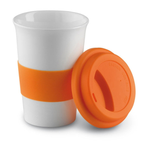 350ml ceramic coffee mug with silicone cup and silicone strip
