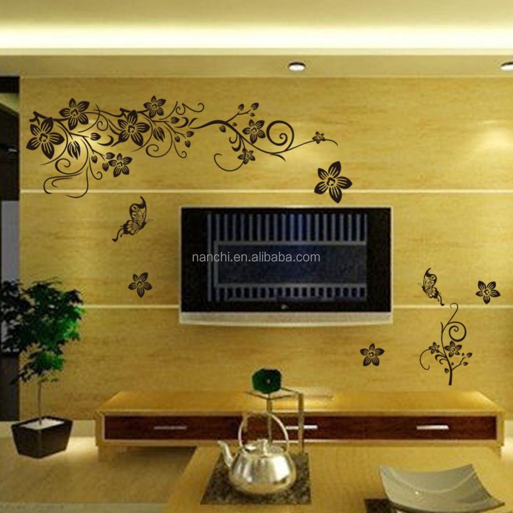 Romantic Black Butterfly Flower Vine Wall Sticker Home Decor 3d ...