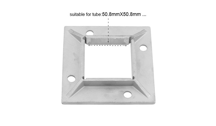 304 316 Baluster Square Post Stainless Steel Handrail Base Plates