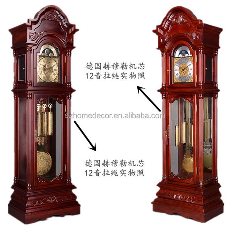 Alem n hermle abuelo reloj con p ndulo y 3 pesos abuelo for Relojes de pared antiguos de pendulo