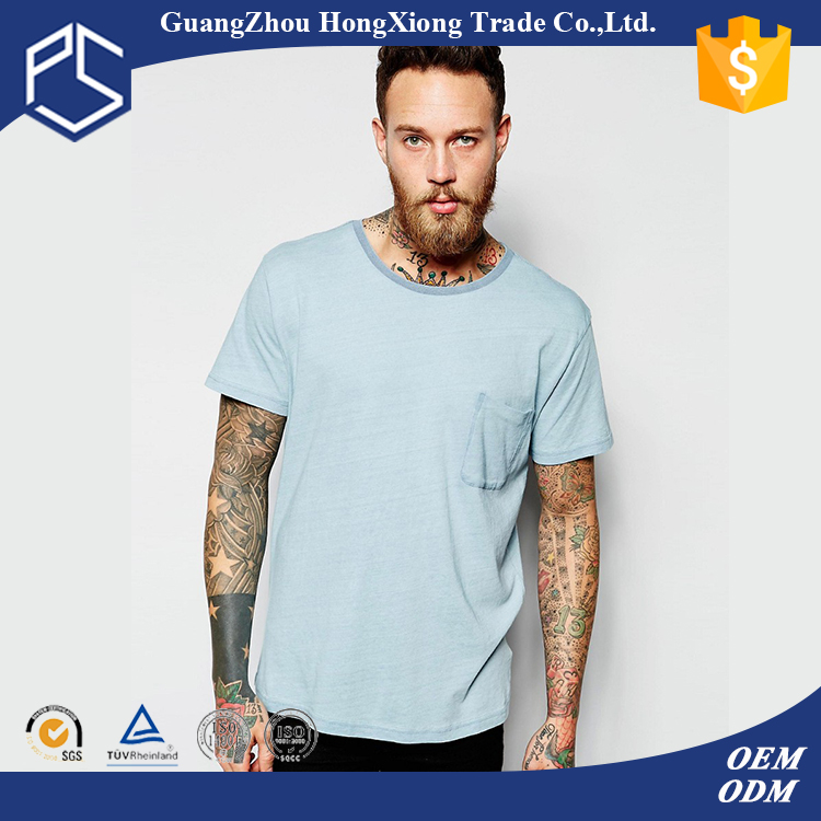 China Factory Hongxiong 180 Grams Short Sleeve Round Neck Breast Pocket Cotton Sky Blue Blank Men T-Shirt Seat Cover