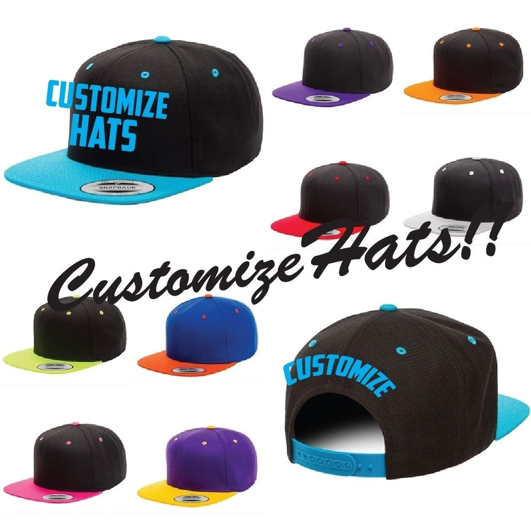 Get Quotations · CUSTOM EMBROIDERY Embroidered Customized Personalized  Yupoong Flexfit 2 Tone Snapback Cap Hat1 Location 2bb4a59c65b2