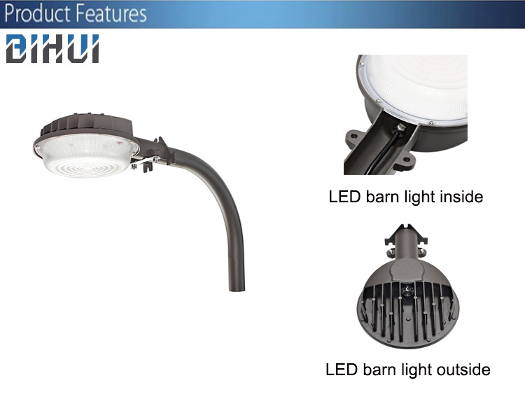120lm/W 35W wall or arm mounting dusk-to-dawn outdoor led barn light 5 years warranty