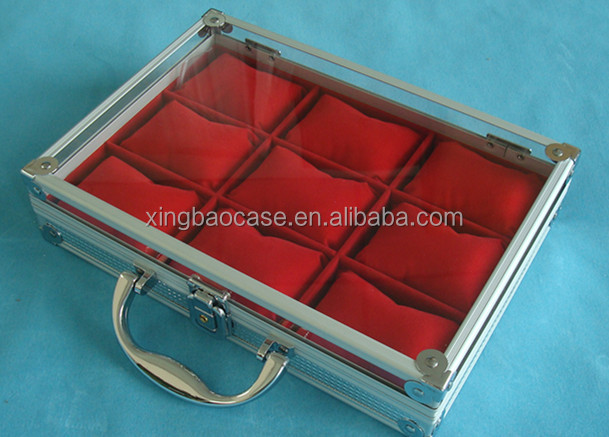 Luxury watch case,watch carrying case with flannelette inner,aluminum men watch box