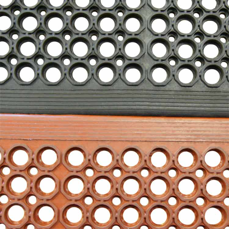Serviceable Anti Fatigue Non Slip Perforated Rubber Mat