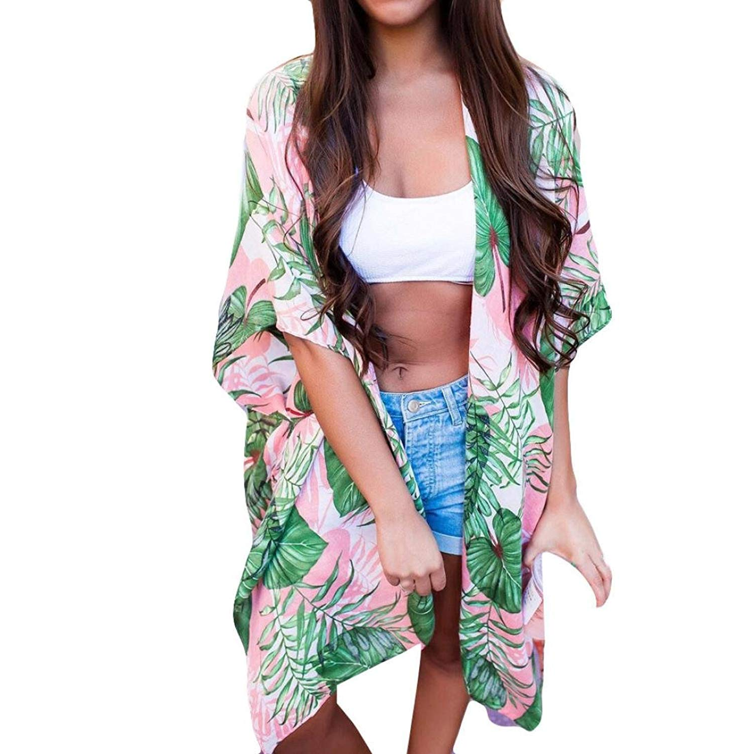 RNTop® Women Cardigan, Women Chiffon Leaf Print Smock Long Bikini Swimwear Swimsuit Cover up Cardigan