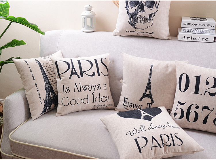 Free shipping Paris Nordic style Pillow Covers minimalist  comfortable Cushions Home Decor creative stylish Seat Cushion