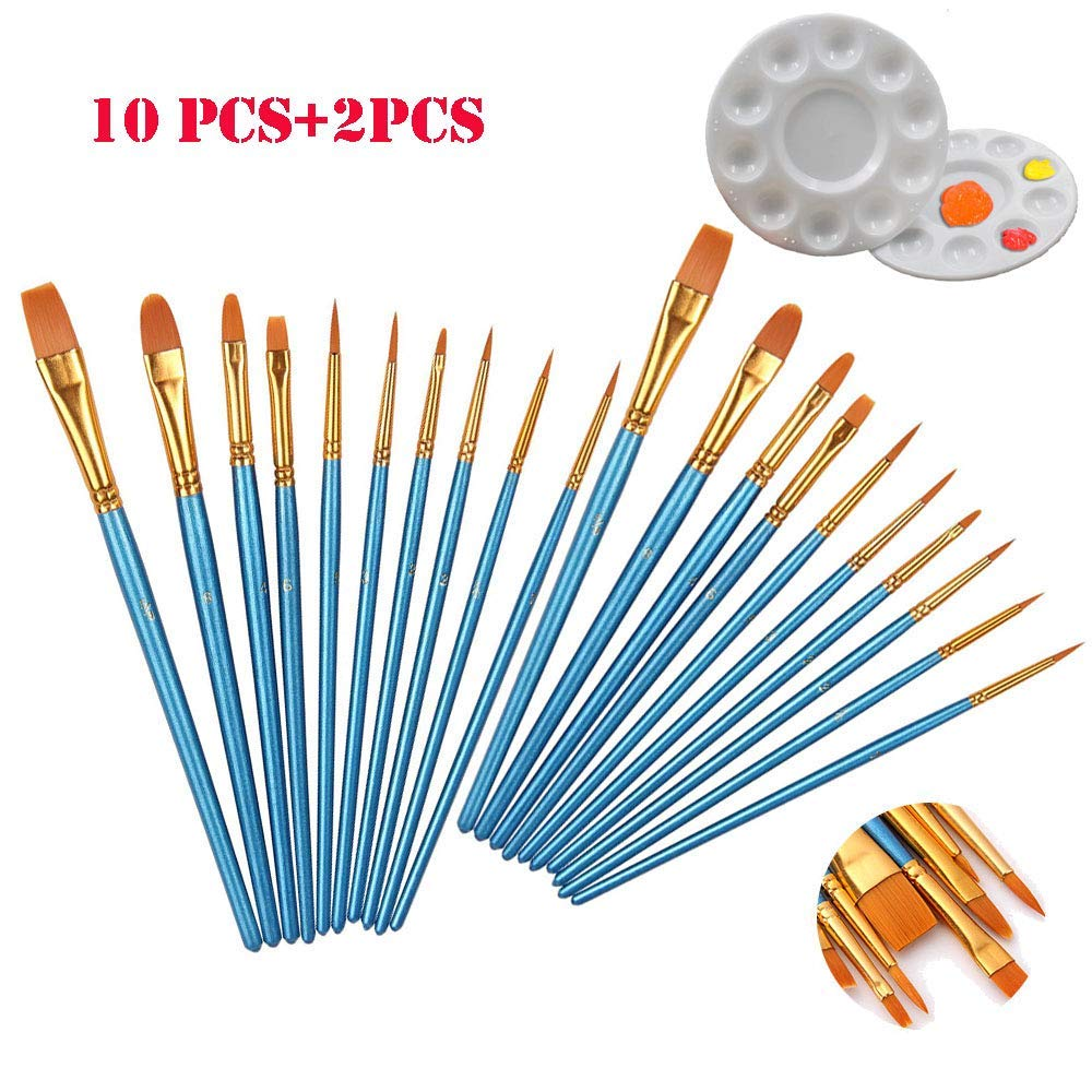 Watercolor Paint Brushes Set, Blue 20packs/10pcs×2 Nylon Acrylic Painting Brush Set + 2 palettes, 10 Different Shapes And Sizes Of Paint Brushes Set For Professional Ar. (Watercolor Paint Brushes Set)