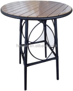 Restaurant poly-wood top wooden aluminum round outdoor high bar table