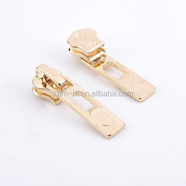 Metal color real gold fashion designer bag zipper sliders