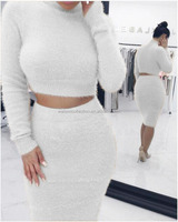 Women Sweater Jumper Skater 2 Pieces Bodycon Dress Women Sweater Dresses Evening Club Dress