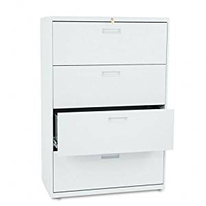 HON : 500 Series Four-Drawer Lateral File, 36w x53-1/4h x19-1/4d, Light Gray -:- Sold as 2 Packs of - 1 - / - Total of 2 Each