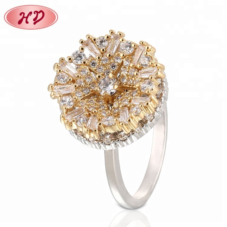 Baguette Diamonds Cut Round Shaped Ballerina Gold Diamond Cluster Ring