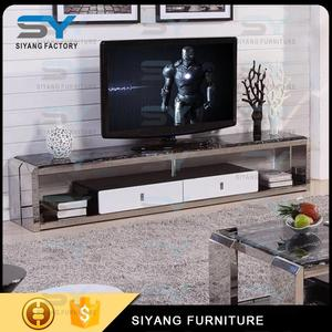 four legs black marble top stainless Steel TV stand for sale