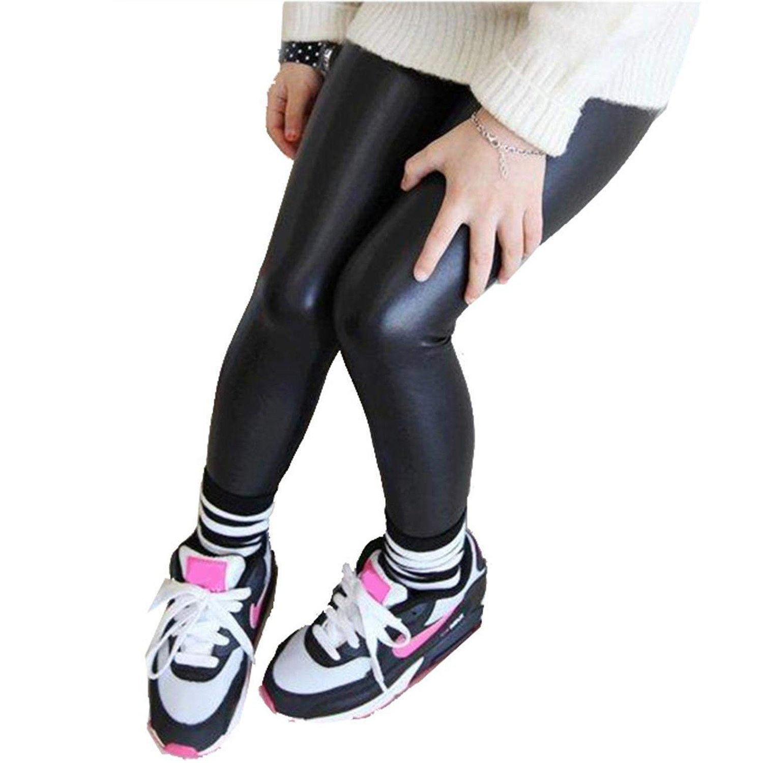 6422d0bc63f64 Get Quotations · Kids Little Girls Black Stretchy Pants Faux Leather Skinny Leggings  Trousers