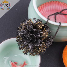 PLX-00170 fashion modern charm big black flower pendant necklace for women or girls