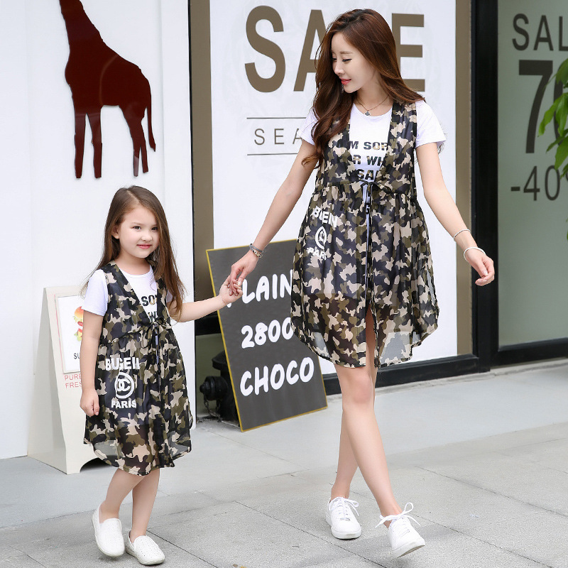 X62425A Summer Style Mum and girl t-shirt and camouflage vest matching sets