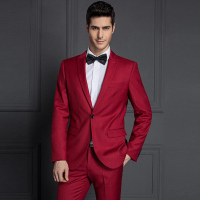 Peaked lapel collar twill fabric mens red suit