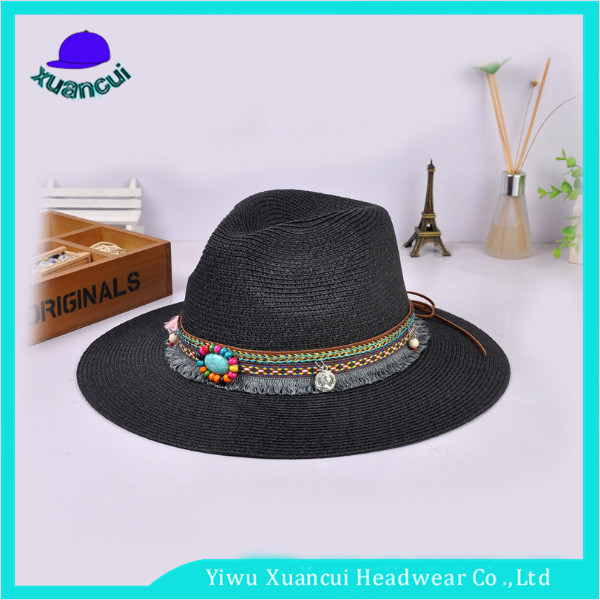 Custom logo honeycomb paper hat cheap wholesale colorful band peruvian straw hat for sale