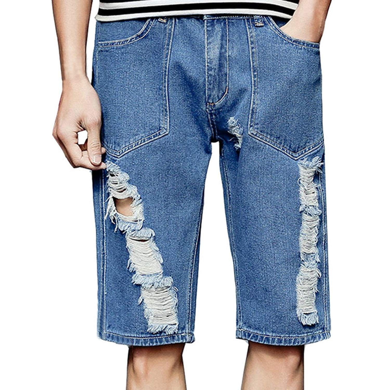 Hzcx Fashion Men's Ripped Distressed Fit Destroyed Straight Zipper Denim Shorts