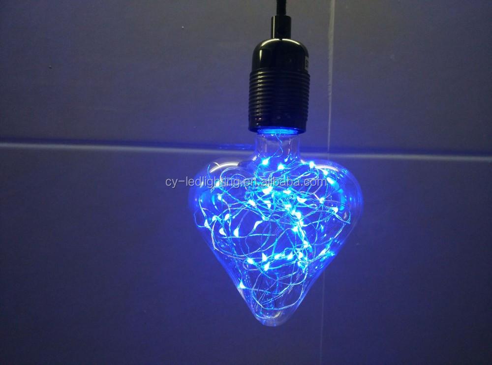 Heart Shape Firefly Light Bulb Copper Blue Led