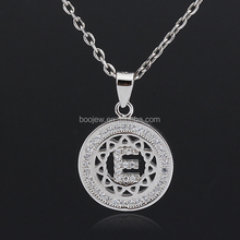 silver fashion round letter E charm pendant necklace for ladies girls parties