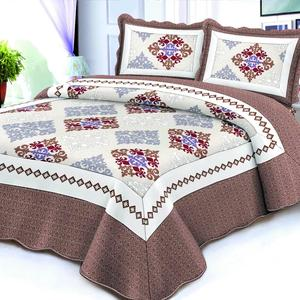 King Size Patchwork Quilted Comforter Bedspreads Mattress Fabric Quilt Bed Set